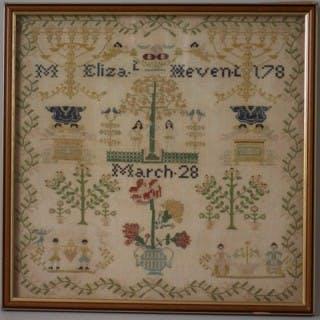 Antique Sampler, 178?, by Eliza. t Hevent