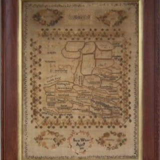 Antique Map Sampler, 1848, by Sarah Wilson