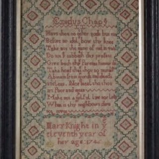 Antique Sampler, 1746, by Mary Knight