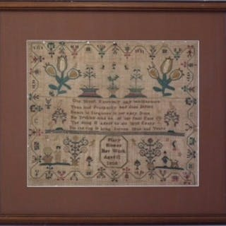 Antique Sampler, 1808, by Mary Hinman