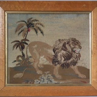 Berlin Woolwork Lion Embroidery