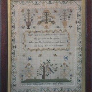 Antique Sampler, 1835, stitched by Sarah Nodes