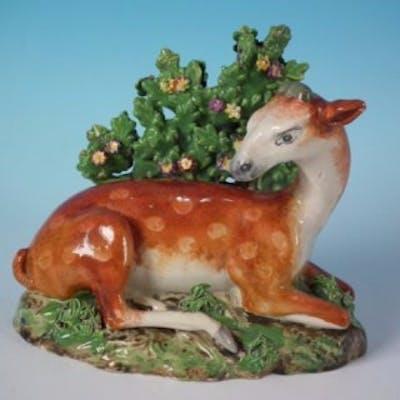 Staffordshire Pottery Pearlware deer bocage figure