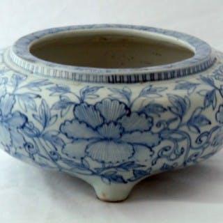 Ming Blue and White Porcelain Bombe Form Censer