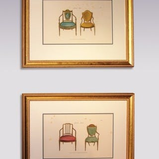 Pair of mid 19th Century Furniture Prints from George Hepplewhite's