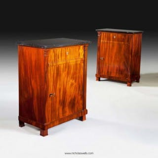 AN EXCEPTIONAL PAIR OF FRENCH EMPIRE MAHOGANY SIDE CABINETS ( MEUBLES D'APPUI )