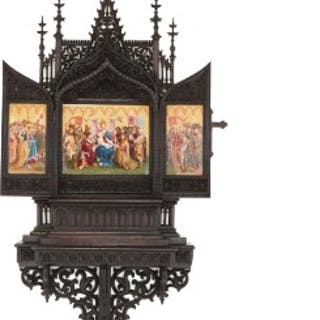 Gothic revival carved oak and KPM porcelain triptych