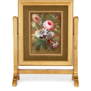 English two sided still life porcelain plaque with giltwood frame