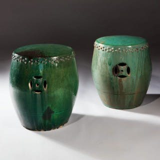 PAIR OF CHINESE LUSTROUS GREEN GLAZED POTTERY STOOLS