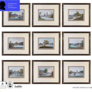 A GROUP OF 9 CHINESE EXPORT GOUACHE PAINTINGS – 19TH CENTURY ANTIQUE