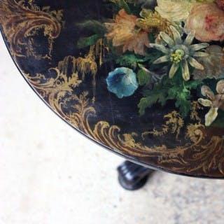 A Very Pretty Early Victorian Japanned Papier-Mâché Pedestal Table c.1840-50
