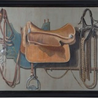 LARGE TROMPE L'OEIL EQUESTRIAN OIL ON CANVAS