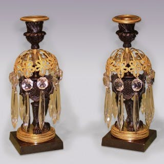 Antique pair of 19th Century bronze & ormolu Lustre Candlesticks.