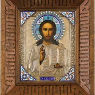 Antique Russian icon of Christ in silver gilt and cloisonne enamel
