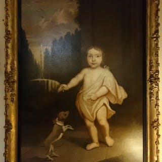 18th Century Primitive Oil Painting Of An Aristocratic Child With Dog