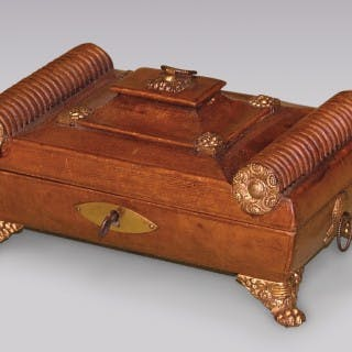 Regency period leather Sewing Casket.
