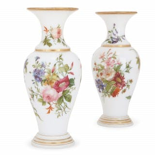 Pair of floral opaline glass vases attributed to Baccarat