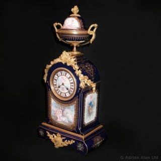 A Gilt-Bronze Mounted Sèvres-Style Blue Ground Mantel Clock, painted