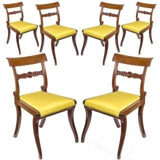 Set of Six Regency Mahogany Klismos Dining Chairs