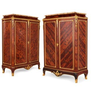 Pair of gilt bronze mounted marquetry cabinets by Durand