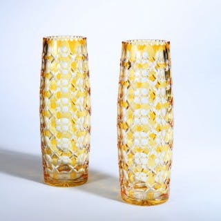 A pair of '1000 eye' Bohemian glass vases