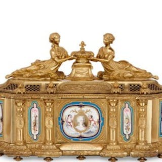 Large French gilt bronze casket with portraits of Marie Antoinette