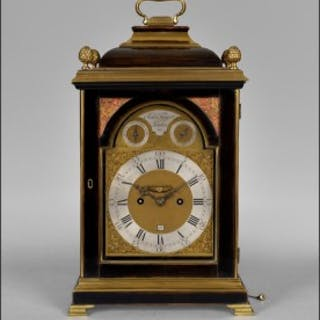 A fine George III ebonised and brass moulded bracket clock by Tregent
