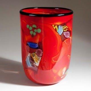 RED GLASS CONTEMPORARY MURANO VASE