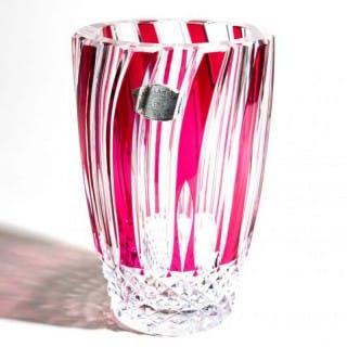 UNIQUE VAL ST LAMBERT EXHIBITION PIECE : RED OVER CLEAR CUT GLASS VASE