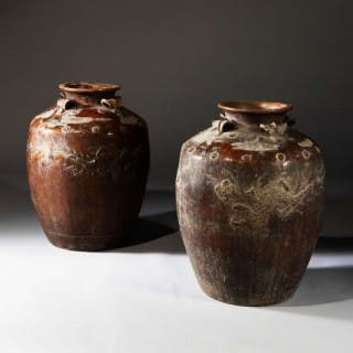PAIR OF LARGE SCALE SOUTH CHINESE POTTERY STORAGE JARS