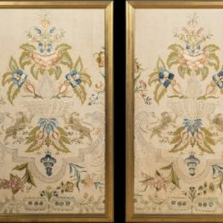 Fine Pair of Large 18th Century Silk Embroidered Panels