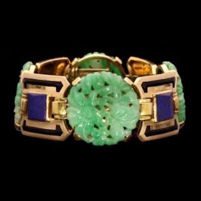 Art Deco Gold, Jade, Lapis Lazuli and Enamel Bracelet by Gerard Sandoz