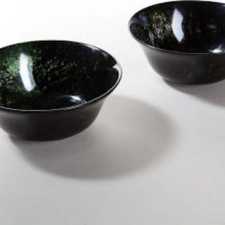 PAIR OF CHINESE SPINACH GREEN JADEITE BOWLS