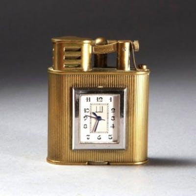 DUNHILL BRASS 'UNIQUE 'A' SPORTS' POCKET LIGHTER WITH WATCH LIMITED EDITION