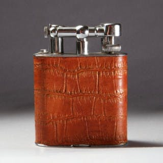 DUNHILL GIANT CHROME & LEATHER LIGHTER