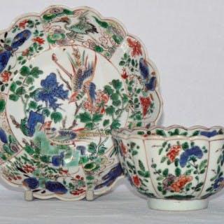 Kangxi Famille Verte Fluted Tea Bowl and Saucer
