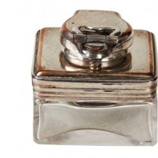 Silver Plate Travel Inkwell
