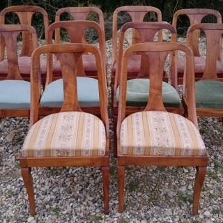 Set of 10 Beidermeier Walnut Antique Dining Chairs