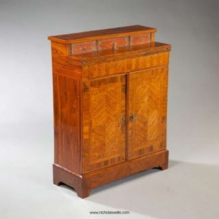 A NARROW KINGWOOD SIDE CABINET SECRETAIRE
