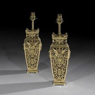 Fine Pair of Beaux Arts Brass Table Lamps