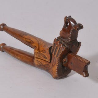 Antique Treen 18th Century Yew Wood Lever Action Nut Cracker