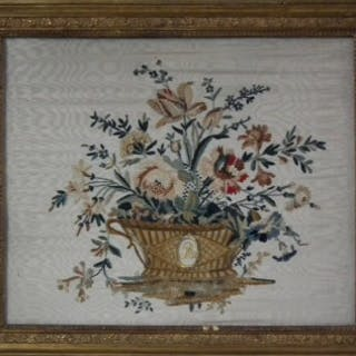 Early 19thC French Flowers in Basket Embroidery