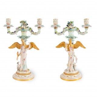 Pair of Rococo style German Meissen porcelain candelabra