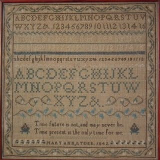 Antique Sampler, 1842, by Mary Ann Ryder