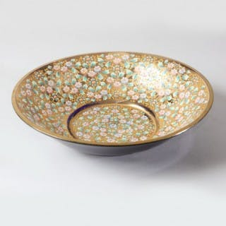 MURANO GLASS BOWL WITH GILT AND ENAMEL