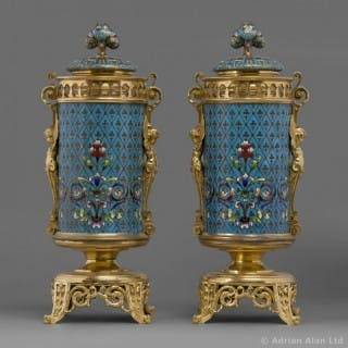 A Fine Pair of Gilt-Bronze Mounted Cloisonne Urns and Cover