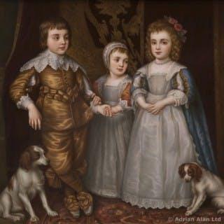 A KPM Porcelain Plaque Depicting The Three Eldest Children of Charles I