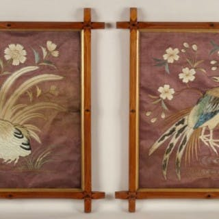 Japanese Pair of Embroideries