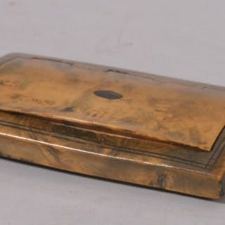 Antique Treen 19th Century Masur Birch Pocket Snuff Box