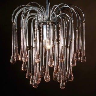 Murano Venini Teardrop Glass Chandelier 1960's